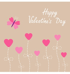 Heart flowers Butterfly Valentines Day vector image vector image
