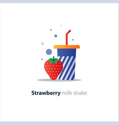 High glass of milk shake with strawberry vector
