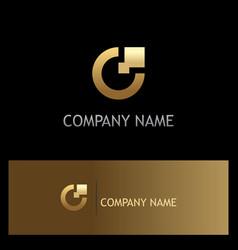 letter c digital technology gold logo vector image