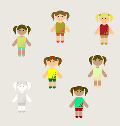 Little girls collection set vector