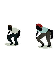 Man and woman silhouette in animation jumping vector