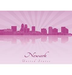 Newark skyline in purple radiant orchid vector