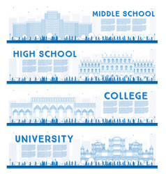Outline set of university high school and college vector