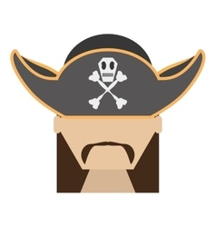 Pirate face beard hat with skull bones vector