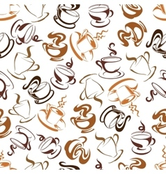 Retro seamless coffee drinks background pattern vector image