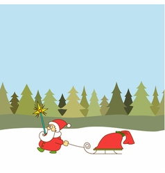 Santa claus with sled on seamless background vector