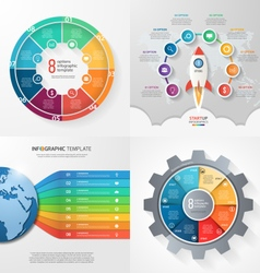 Set of 4 infographic templates with 8 processes vector