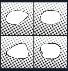 Set of black and white speech bubble vector