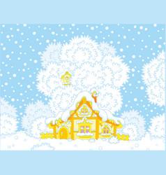 Small log hut snow-covered on christmas vector