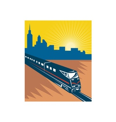 Speeding passenger train city skyline vector