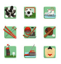 sport icons set chess baseball football hockey vector image