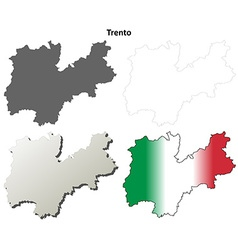 Trento blank detailed outline map set vector