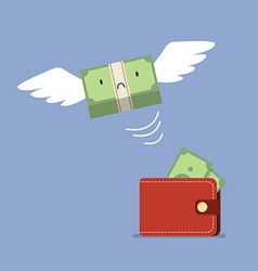Unhappy money bill flying out of wallet vector