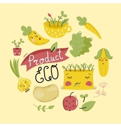 Eco product banner with vegetables characters vector