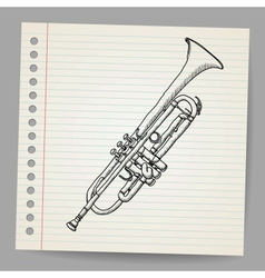 Doodle trumpet vector image