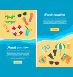 Beach vacation flat design web banners vector