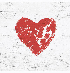 Grunge red heart on monochrome distressed vector