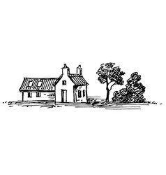 old stone house vector image