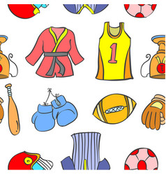 collection stock of sport theme doodles vector image