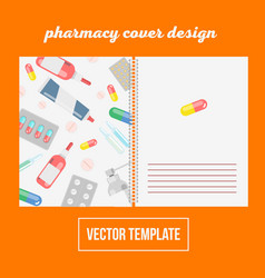 Cover design for print with pharma and pills vector