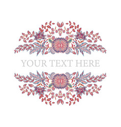Floral frame hand draw fantasy flowers round vector
