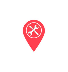 Map pointer with service flat icon navigation vector
