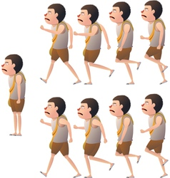 Boy walk cycle view side vector