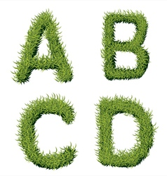 Green grass alphabet a b c d vector