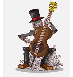 Monster in halloween night skeleton play cello vector