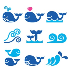 Whale sea or ocean waves blue icons set vector