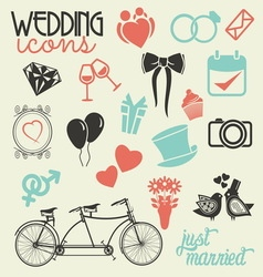 Wedding icons random resize vector