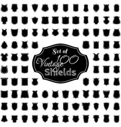 set of 100 vintage shields vector image