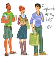 Young people with grocery bags vector