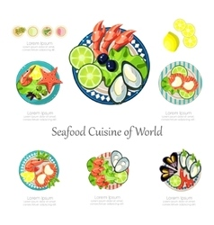 Seafood design set infographic food business vector