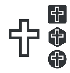 Christian cross icon set monochrome vector
