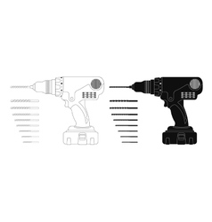 Electric cordless hand drill with bits contour vector
