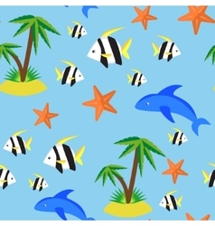 Seamless pattern with different marina creatures vector