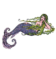 Hand drawn of a Beautiful mermaid girl isolated vector image