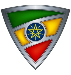 Steel shield with flag ethiopia vector