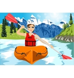 Girl with paddle and kayak on a small river vector