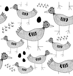 Seamless pattern with black and white birds vector
