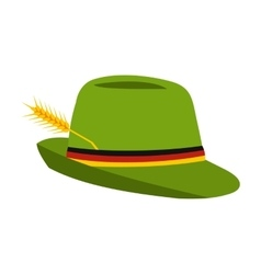 Green hat with a feather icon flat style vector