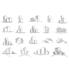 Hand drawn architectural sketches vector
