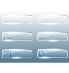 Rectangular transparent glass buttons vector