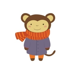 Monley in blue warm coat childish vector