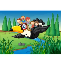 a river a bird and kids vector image vector image