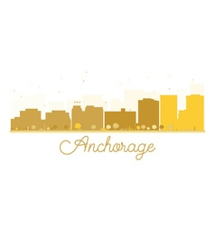 Anchorage city skyline golden silhouette vector