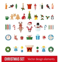 Big set of Christmas icons in flat style vector image
