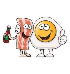 Cartoon egg and bacon vector