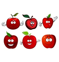 Cartoon sweet red apple fruit characters vector
